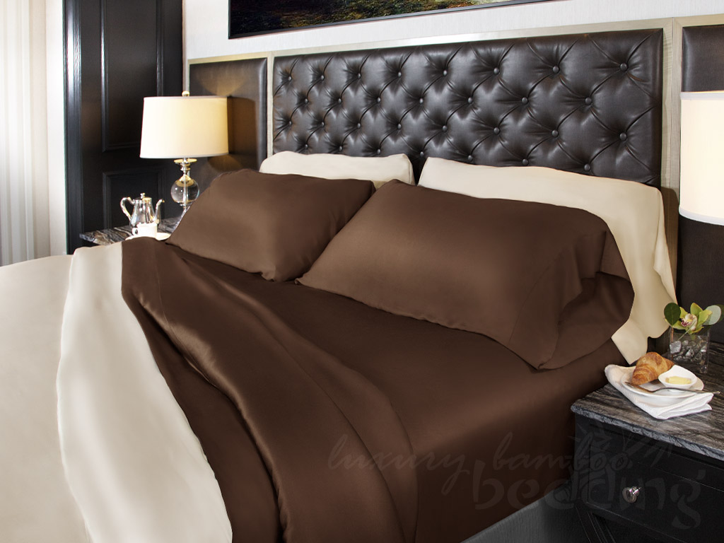 Twin chocolate 100% bamboo sheet set for luxurious comfort - 320 thread count
