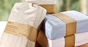 icon for 500 thread count ultra premium bamboo sheet sets chocolate, white, ivory, tan and blue